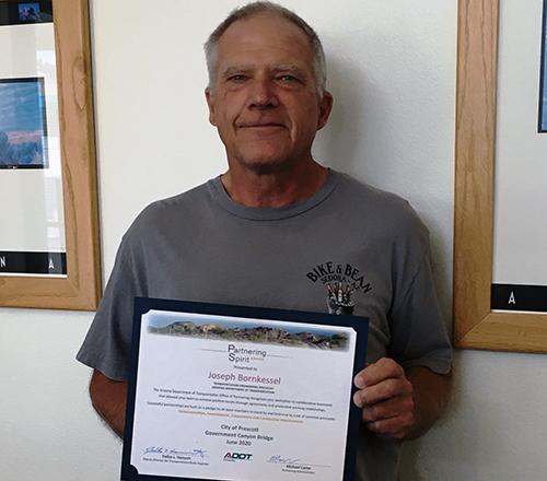 Joseph Bornkessel accepting Spirit Award
