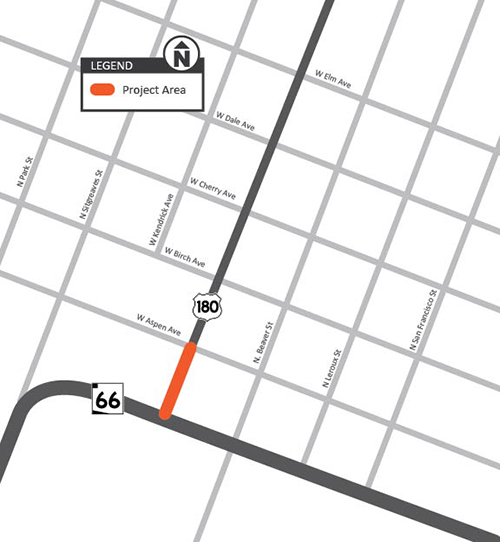 US 180 Route 66 / Aspen Ave Project Map