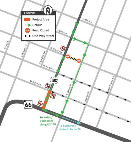 US 180 Route 66 / Aspen Ave Detour Map