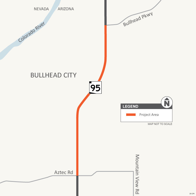 Southern end of Bullhead City Parkway to Aztec Road Map