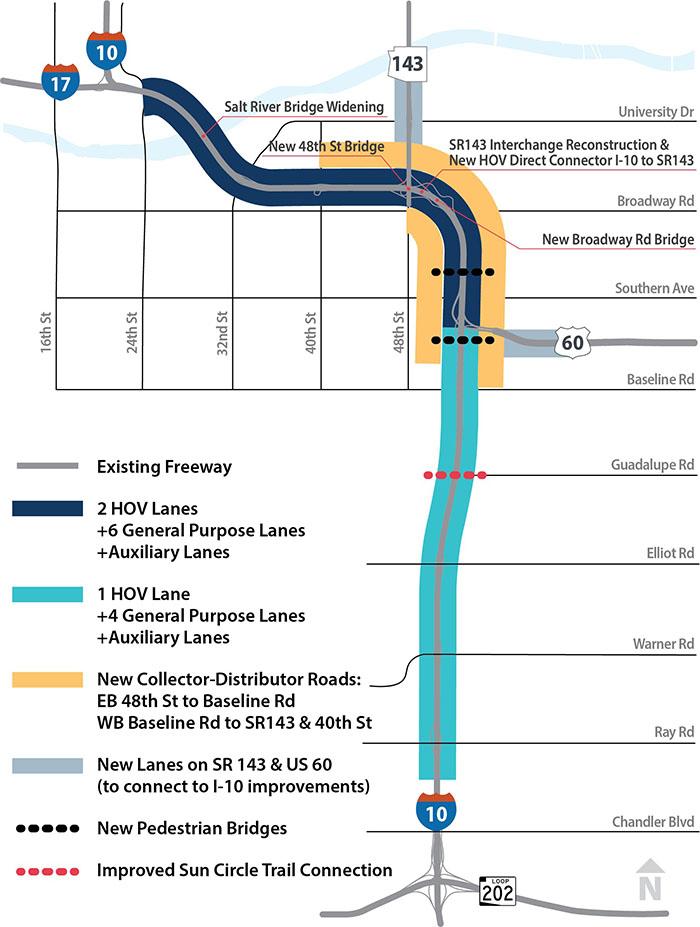I-10 Broadway Curve Improvement Map