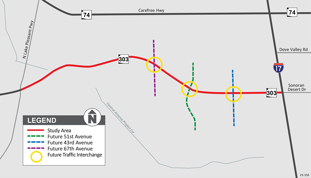 Loop 303 Lake Pleasant Parkway to I-17 Project Map