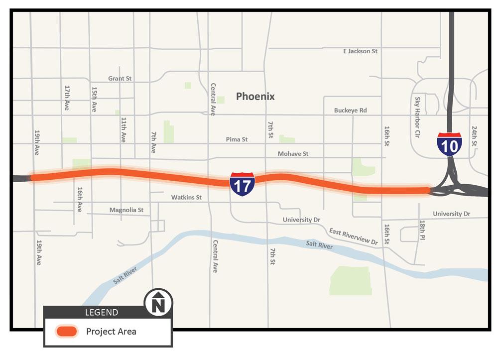 I-17 Black Canyon Freeway Auxiliary Lane Improvement Map
