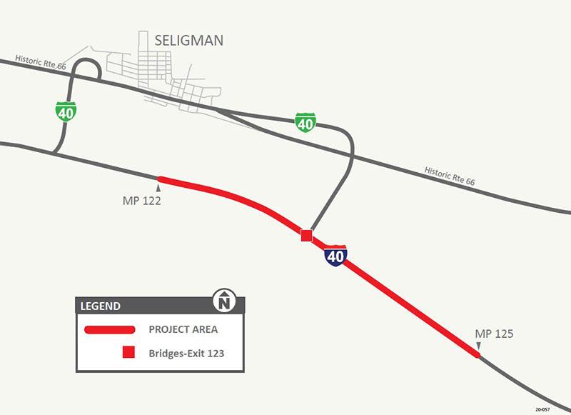 Interstate 40: East Seligman Bridge Decks Replacement Map