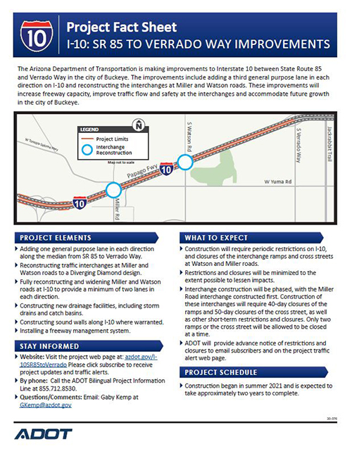 I-10 SR 85 to Verrado Way Factsheet