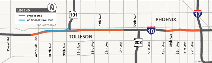 I-10 Avondale Blvd to I-17 Pavement Project Map