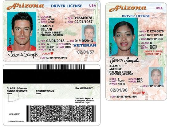 Examples of the New Arizona Driver Licenses and IDs