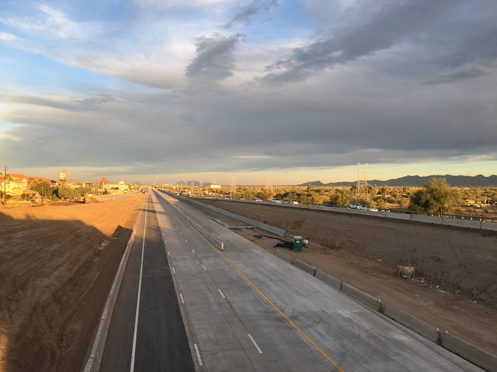 New pavement during construction of I-10 in Marana