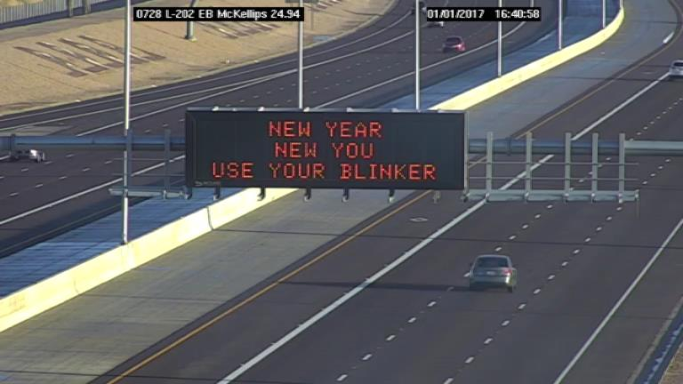 Dynamic Message Board: New Year, New You, Use Your Blinker