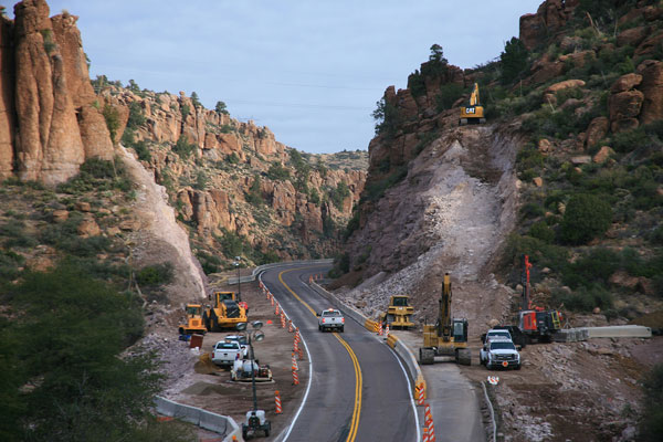 Construction work on US 60 widening project