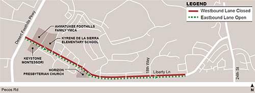 Liberty Lane map of lane closures