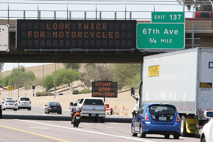 "Dynamic Message Sign - ""Look twice for motorcycles"""