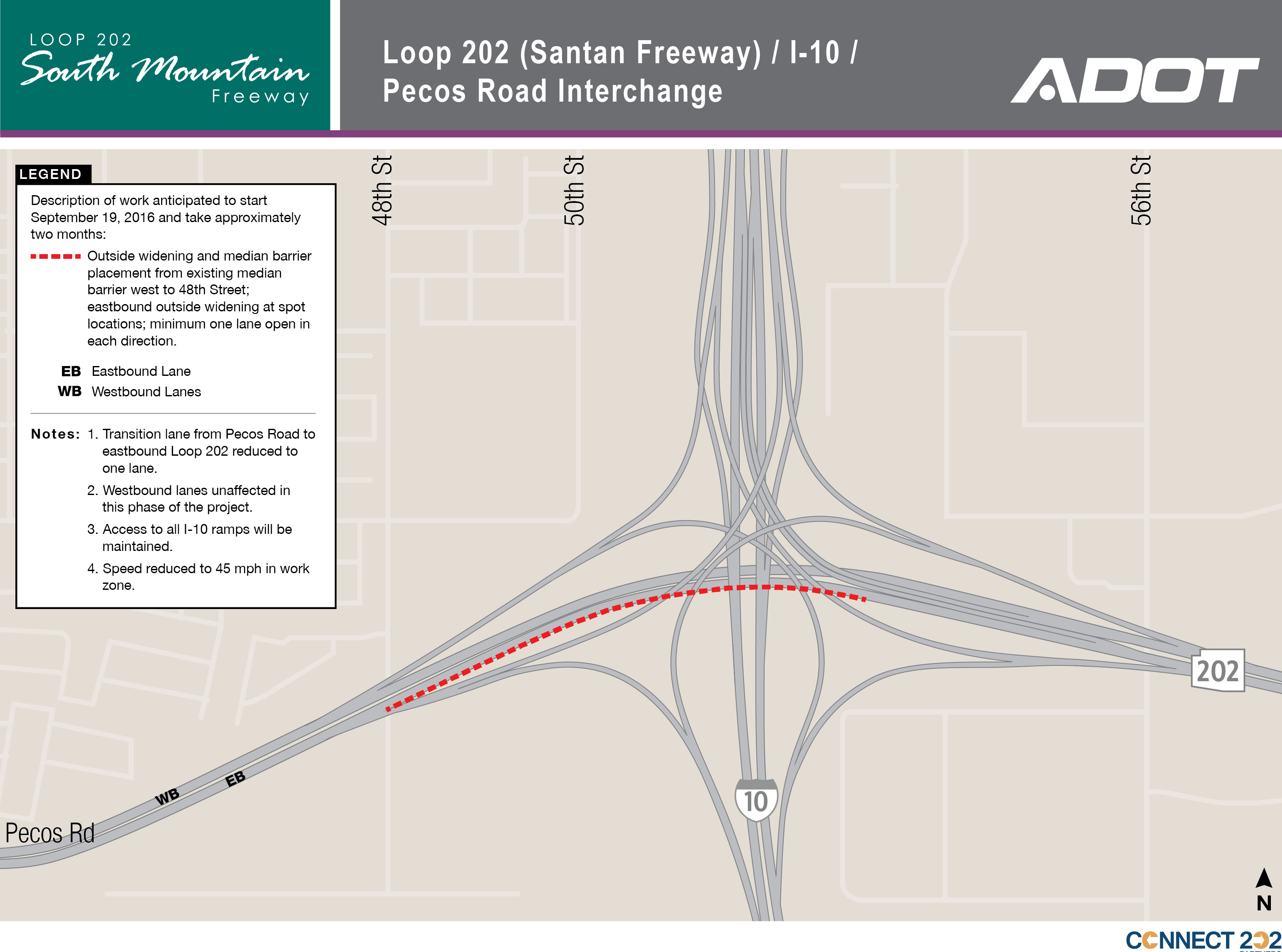 Project Map for work scheduled to start on Sept. 19, 2016 at Loop 202 (Santan Freeway) / I-10 and Pecos Road