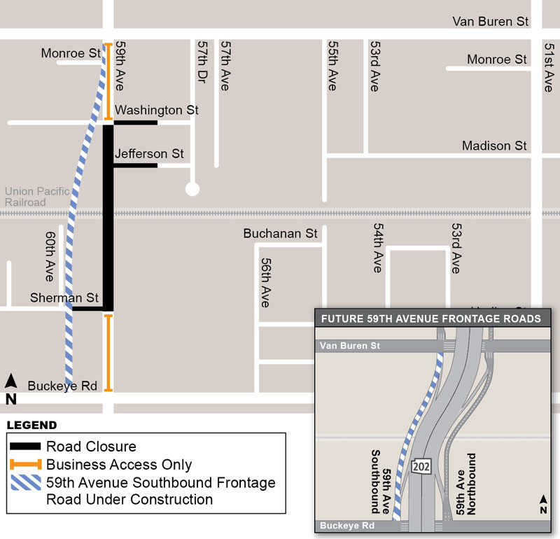 59th Avenue Closure Map (January - March 2019) showing construction area, road closures and future 59th Ave frontage roads