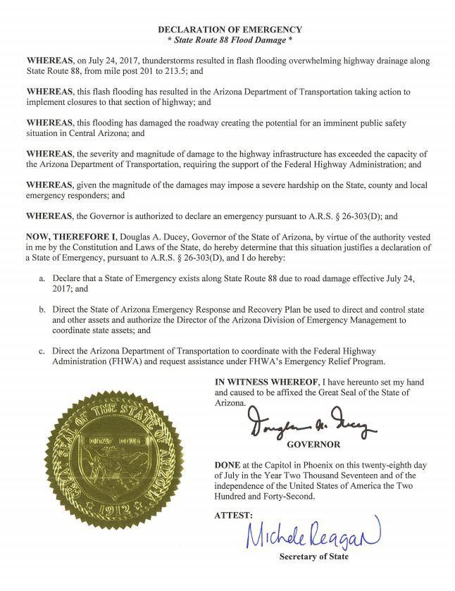 Governor Doug Ducey's declaration of emergency for SR 88 flood damage
