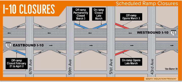 Scheduled Ramp Closures for South Mountain Freeway Project at I-10 and 67th Avenue