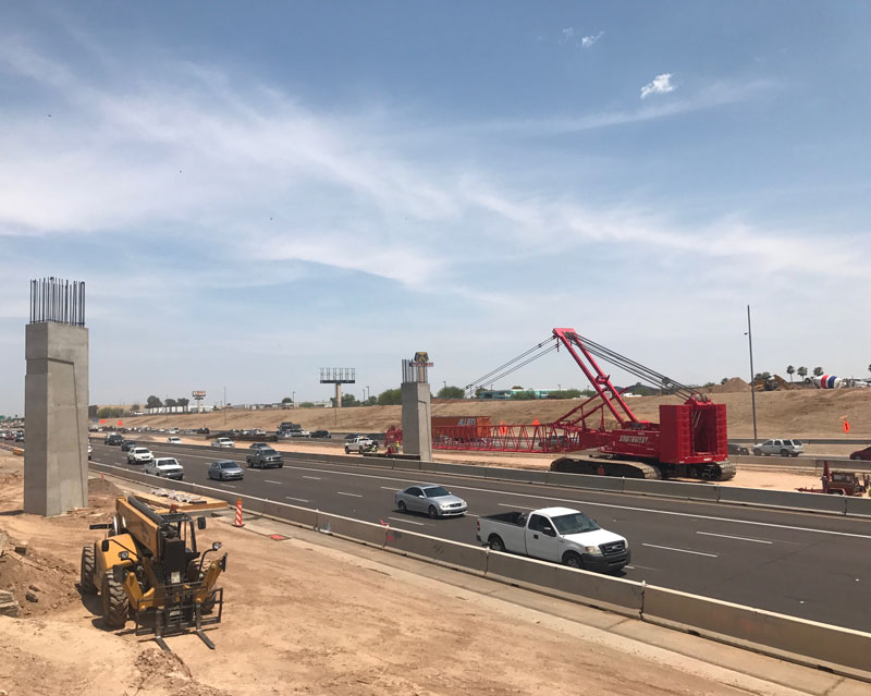 South Mountain Freeway Project I-10 Construction Zone with traffic