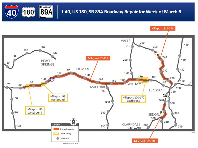 Project map for I-40, US 180, SR89A Roadway Repair for Week of March 6, 2017