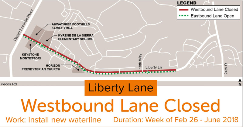 Map and Closure Notice for Liberty Lane Westbound - Feb. 26 - June 2018