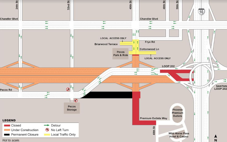 Pecos Road / 40th Street closure map as part of South Mountain Freeway Project