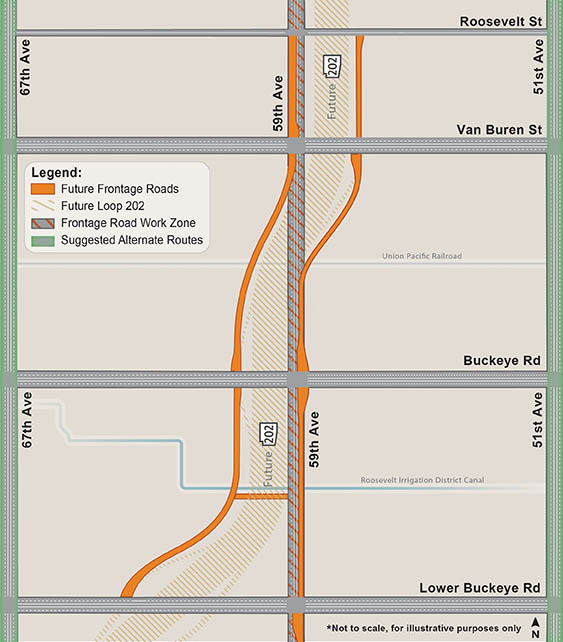 59th Avenue South Mountain Freeway Frontage Road Map