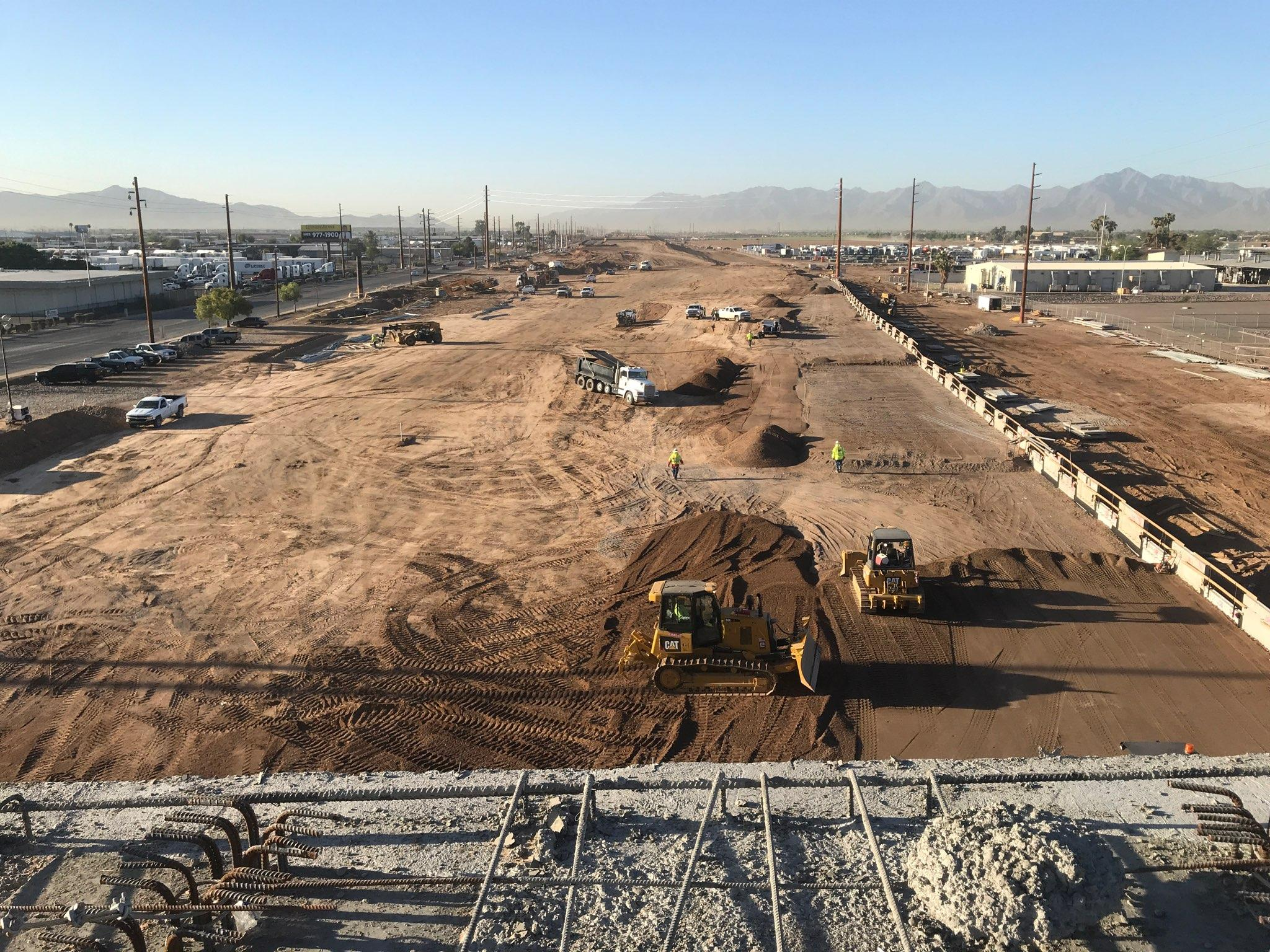 South Mountain Freeway Mainline-Frontage Road construction.