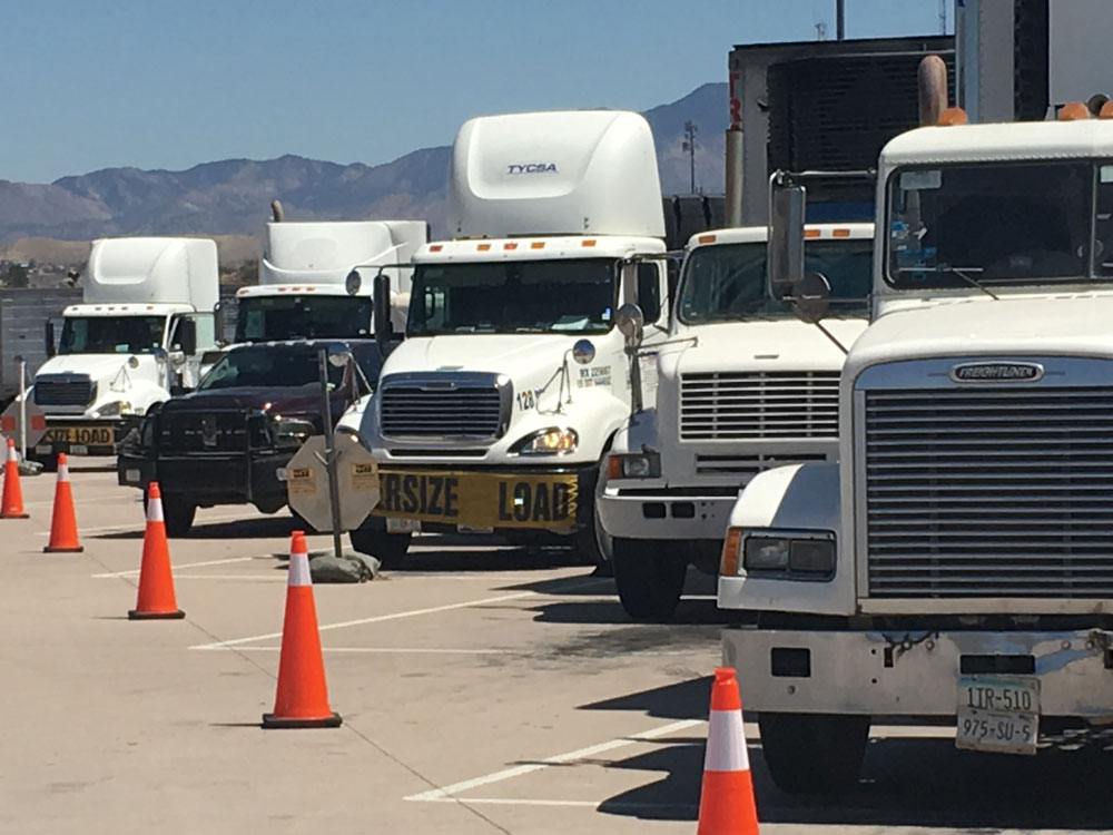 Trucks parked at the Mariposa Port of Entry