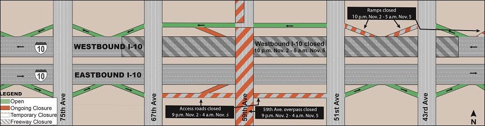 Westbound I-10 closure map
