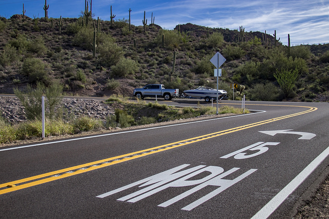 Speed limit pavement markers on SR 88.