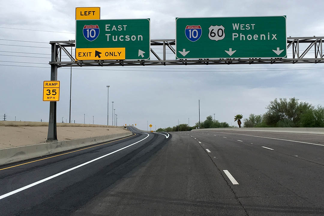 View of the new second exit lane to Tucson off the westbound US 60.