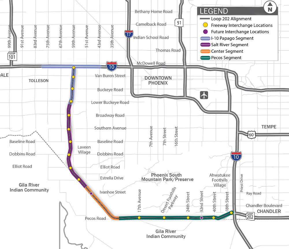 South Mountain Freeway project area map