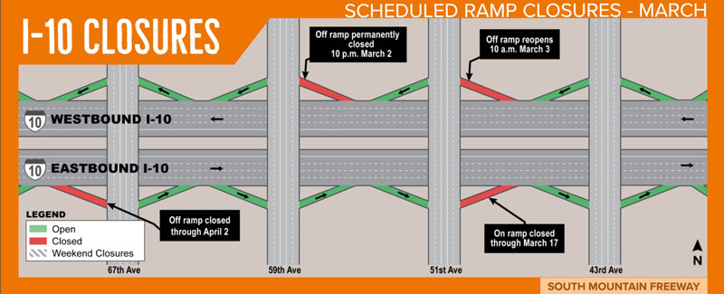 Map illustrating ramp closures as part of the South Mountain Freeway Project
