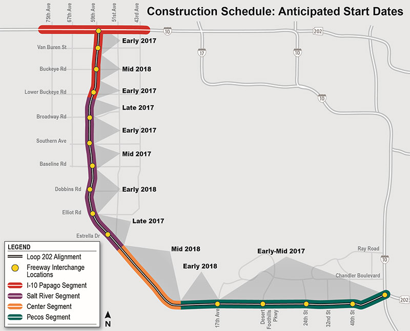 South Mountain Freeway - Anticipated Start Dates (by area)