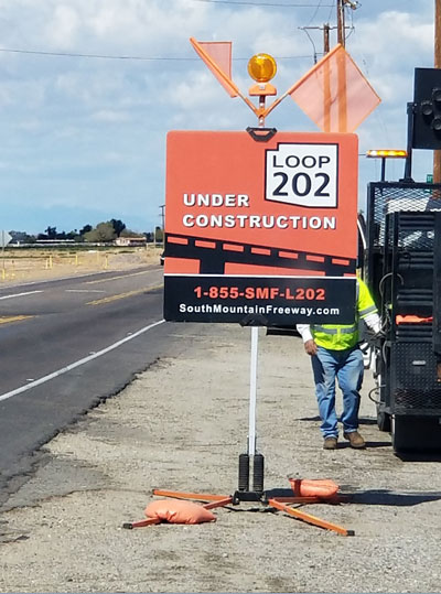 South Mountain Freeway Project Under Construction Sign