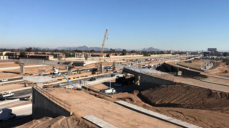 South Mountain Freeway overpasses at I-10 under construction