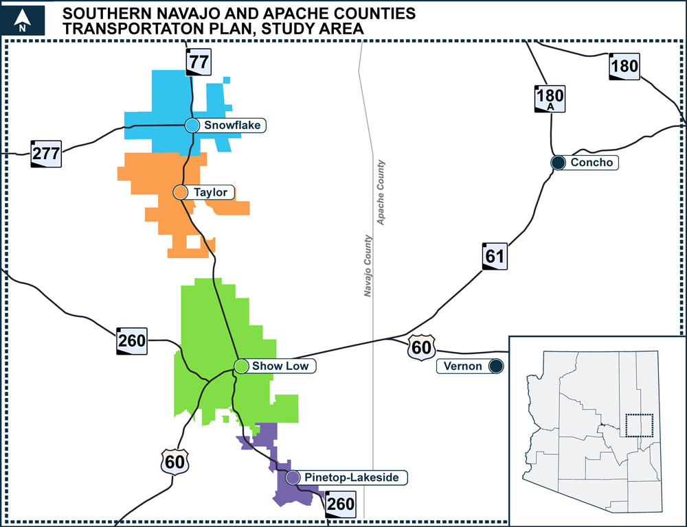Southern Navajo and Apache Counties Transportation Plan Study Area Map