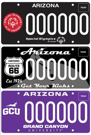 Specialty Plates: Special Olympics, Historic Route 66, Grand Canyon University