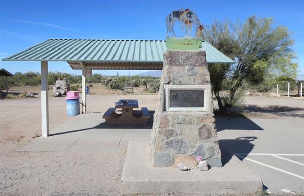 Tom Mix Memorial on State Route 79 about 17 miles south of Florence, AZ