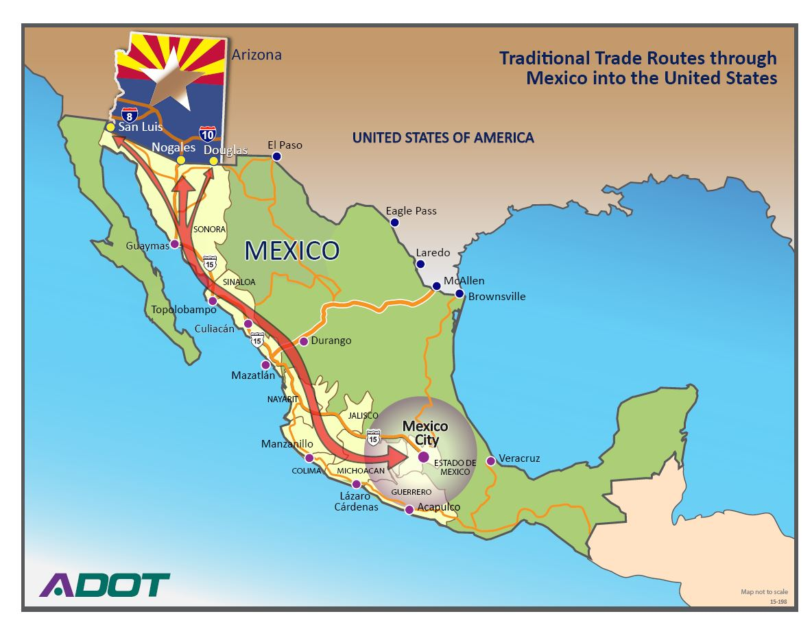 Map Showing Traditional Trade Routes through Mexico into the United States