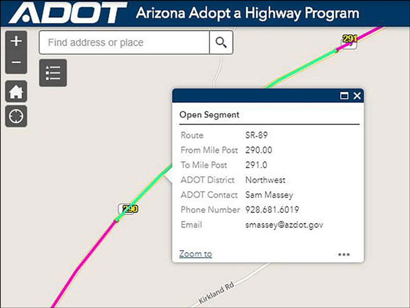 Adopt a Highway interactive map close up showing segment details