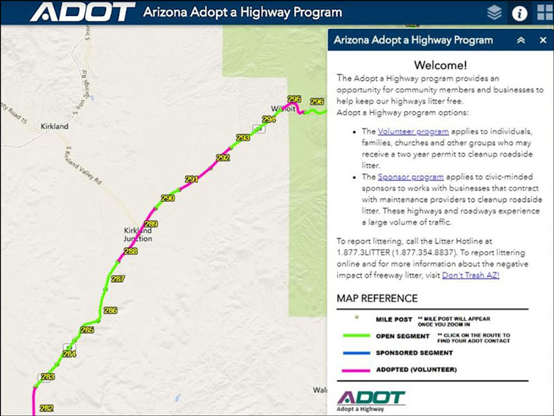 Adopt a Highway interactive map showing SR 89 locations