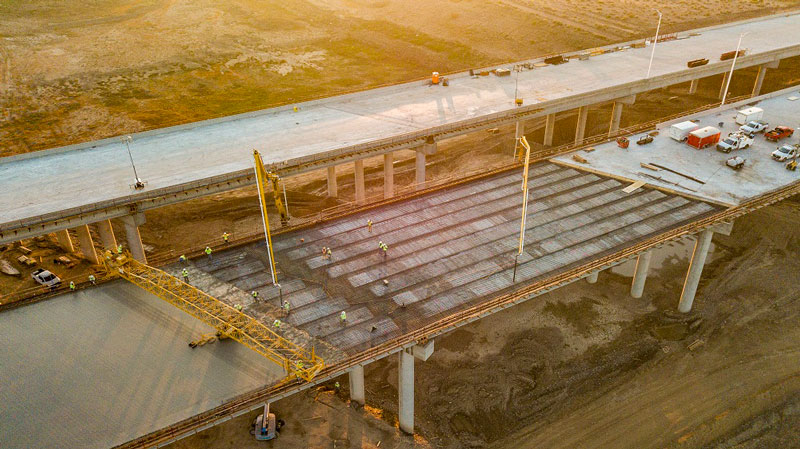 Aerial view of the Salt River Bridge Deck Pour on South Mountain Freeway Project