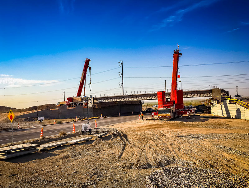 South Mountain Freeway bridge installation at 17th Avenue
