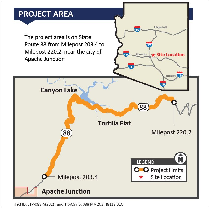 Project Map of SR 88 (Apache Trail) Improvement Project