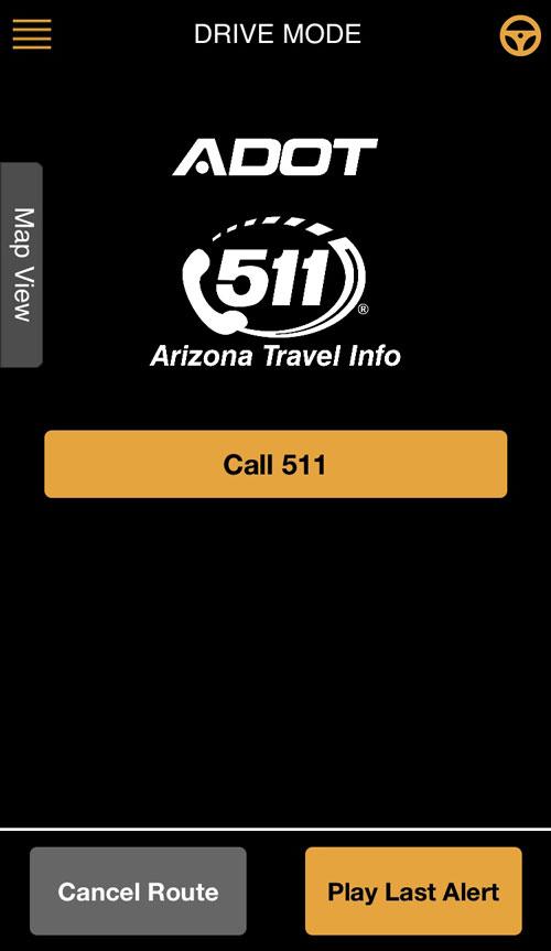AZ 511 App screenshot in Drive Mode