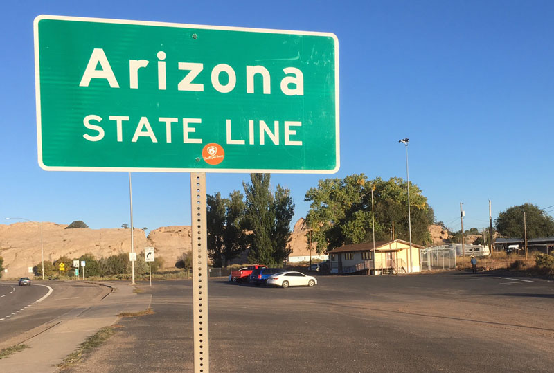 Arizona State Line sign