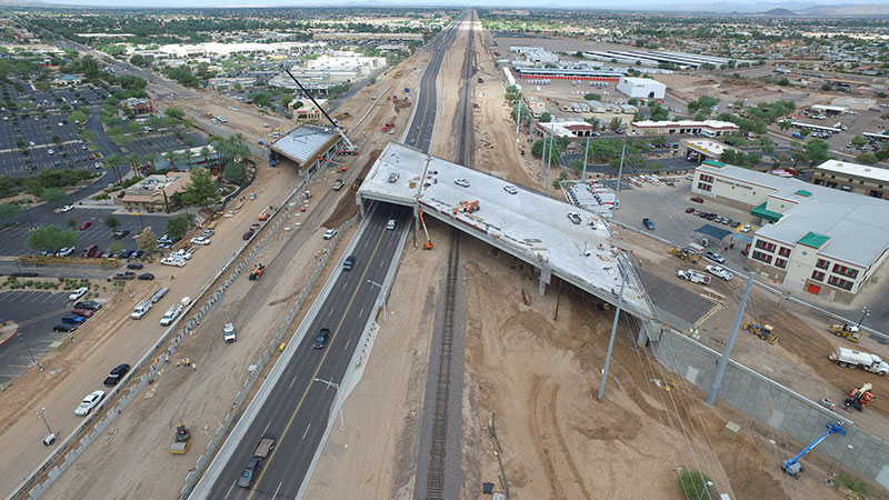 Aerial view of Bell Road and Grand Avenue Overpass