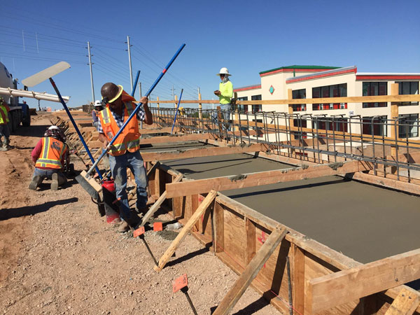 Bell/Grand Overpass and Interchange Project: Pouring a new sidewalk