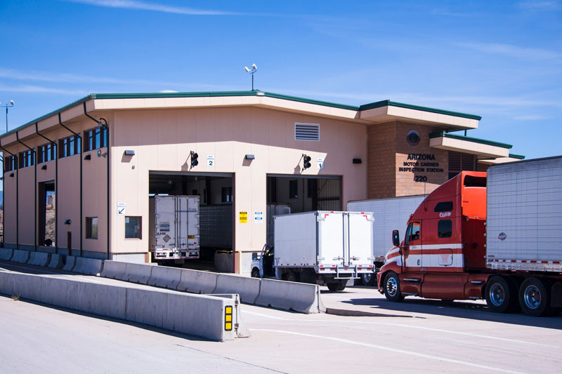 Border Truck Inspections - Truck entering inspection station