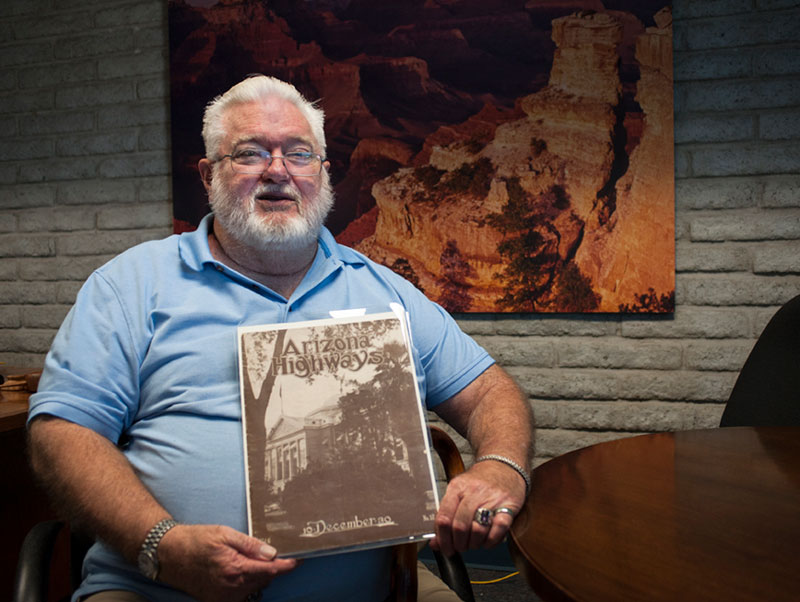 Dennis Chandler of Avondale and the December 1930 edition of Arizona Highways magazine